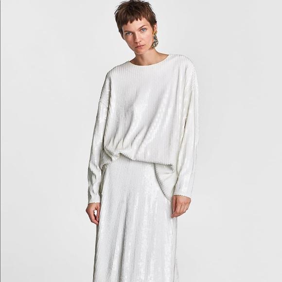 34922d255205d6 Zara Tops | Knitwear Collection White Sequin Top | Poshmark